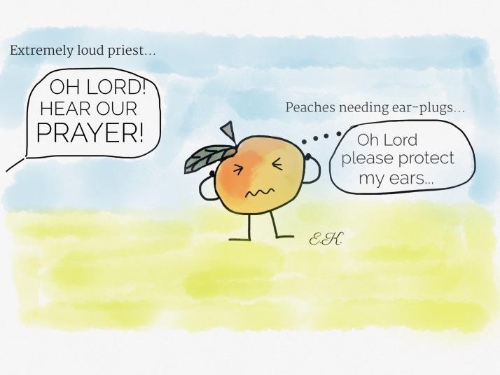 peaches during a prayer meeting